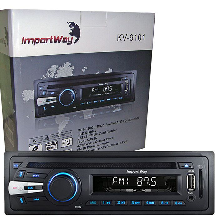 Cd Mp3 Player Automotivo Toca Som Carro Importway KV-9101 Usb Sd Aux Fm