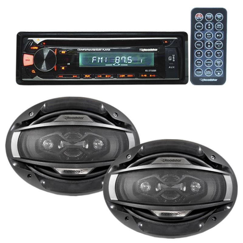 Cd Player Mp3 Automotivo Bluetooth Roadstar Fm Usb Controle + Par Alto Falante 6x9 200W Rms  - BEST SALE SHOP