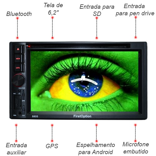Central Multimídia 2 Din Universal 6.2 First Option SD Usb Bluetooth Tv Digital Gps Câmera de Ré  - BEST SALE SHOP