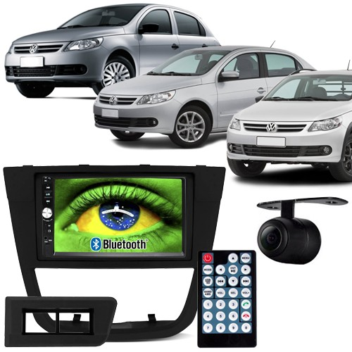 Central Multimídia Mp5 Gol Saveiro Voyage G5 09 à 12 D720BT Moldura 2 Din Usb Bluetooth Câmera Ré