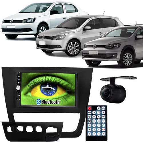 Central Multimídia Mp5 Gol Saveiro Voyage G6 12 à 16 D720BT Moldura 2 Din Usb Bluetooth Câmera Ré