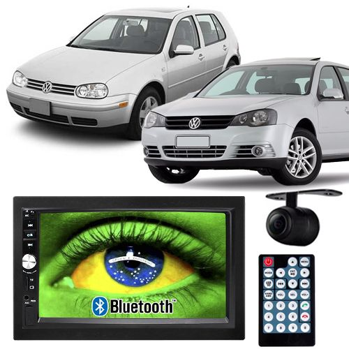 Central Multimídia Mp5 Golf 1999 à 2013 D720BT Moldura 2 Din Bluetooth Câmera Ré