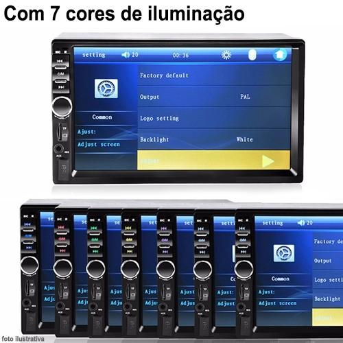 Central Multimídia Mp5 Idea 2006 à 2011 D720BT Moldura 2 Din Cinza Usb Bluetooth Câmera Ré