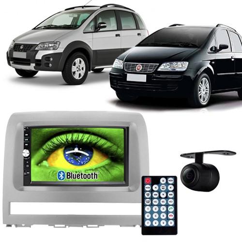 Central Multimídia Mp5 Idea 2006 à 2011 D720BT Moldura 2 Din Prata Usb Bluetooth Câmera Ré