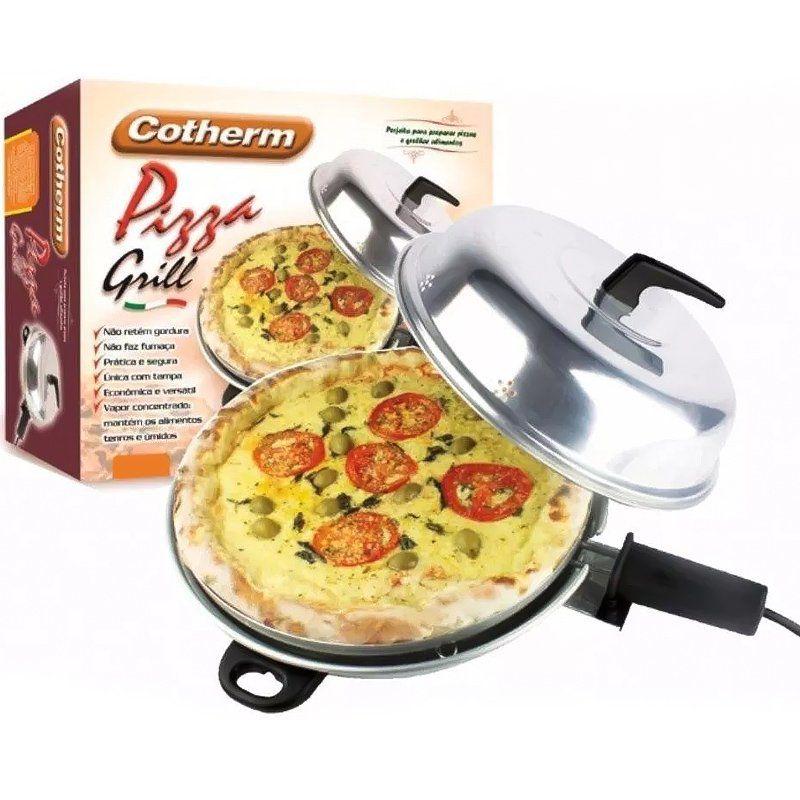 Churrasqueira e Forno Pizza Grill Elétrico 2 em 1 com Tampa e Forma Redonda 110V 127V Cotherm 1151
