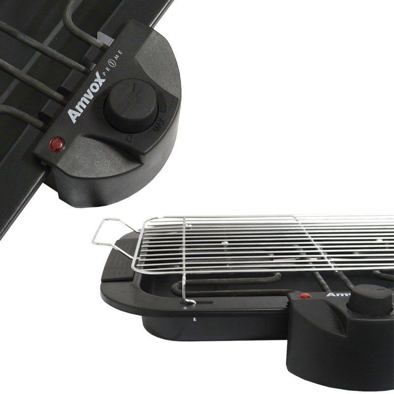 Churrasqueira Elétrica Super Grill Portátil 110V com Pés e Prateleira Amvox 1800W ACH 2000 Preta