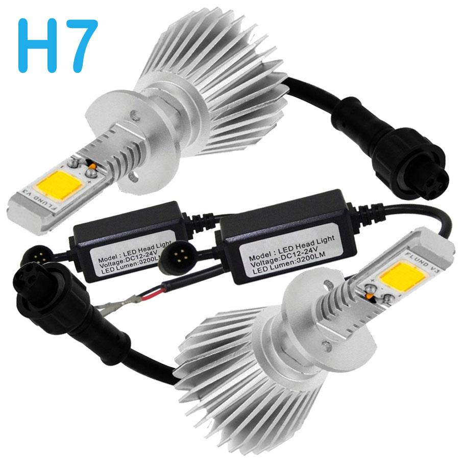 Par Lâmpada Super Led 6400 Lumens 12V 24V H7 6000K