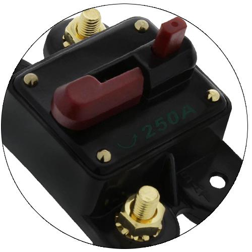 Disjuntor Automotivo 250A Proteção Som Resetável Liga Desliga