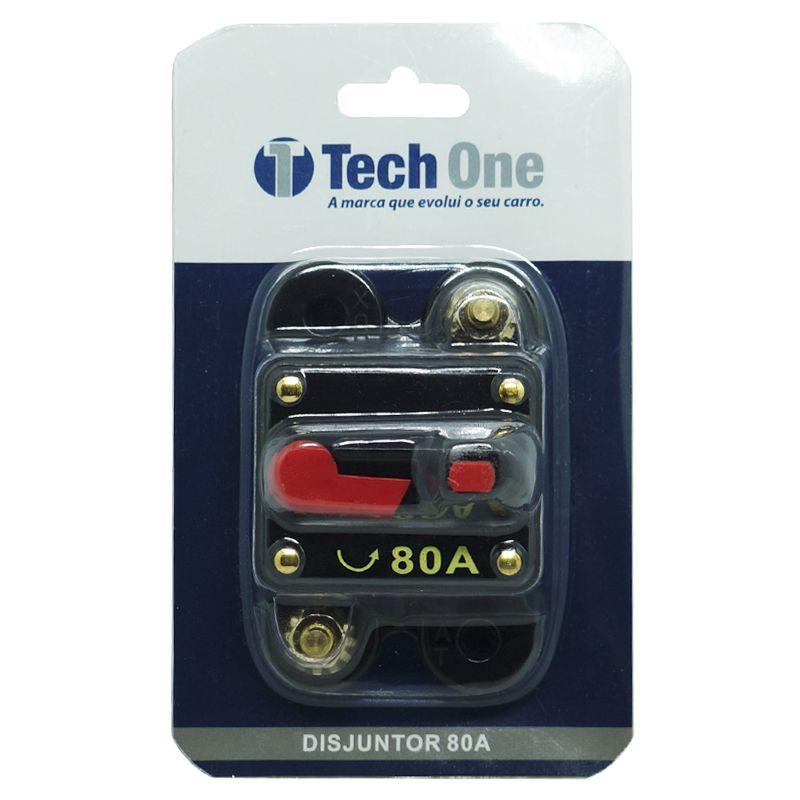 Disjuntor Automotivo 80A Tech One Proteção Som Resetável Liga Desliga