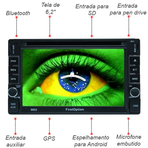 Dvd Automotivo 2 Din 6.2 First Option Multimídia Universal SD Usb Bluetooth Gps Espelhamento