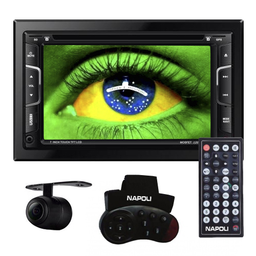 Dvd Automotivo 2 Din 7.0 Napoli DVD-TV7335 Universal SD Usb Bluetooth Tv Digital Gps Câmera de Ré