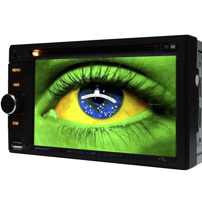 Central Multimidia 2 Din 6.2 Multilaser Evolve Light Dvd Sd Usb Fm Bluetooth Espelhamento Tv Digital