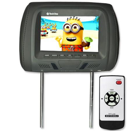 Encosto Cabeça Tela Monitor Usb SD + Encosto de Cabeça Escravo Tech One Standard Grafite  - BEST SALE SHOP