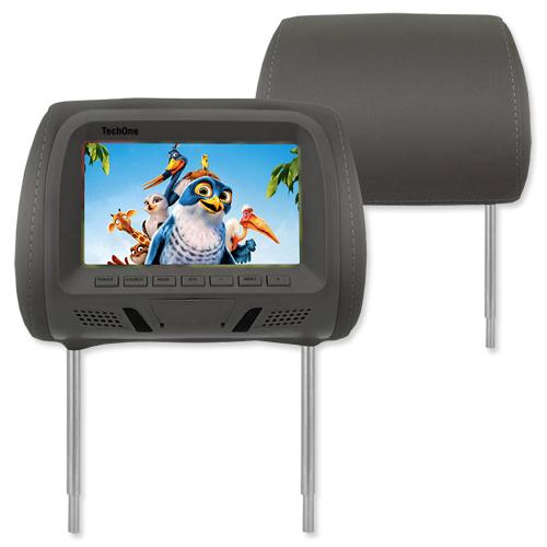 Encosto Cabeça Tela Monitor Usb SD + Encosto de Cabeça Escravo Tech One Standard Grafite