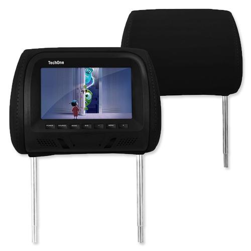 Encosto Cabeça Tela Monitor Usb SD + Encosto de Cabeça Escravo Tech One Standard Preto