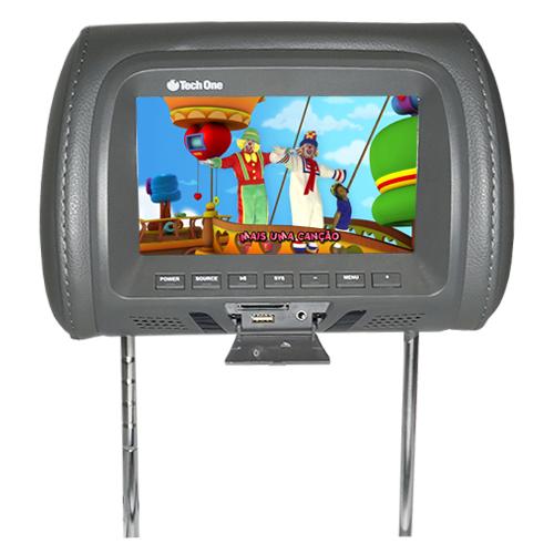 Encosto Cabeça Tela Monitor Usb SD IR Tech One Standard Grafite  - BEST SALE SHOP