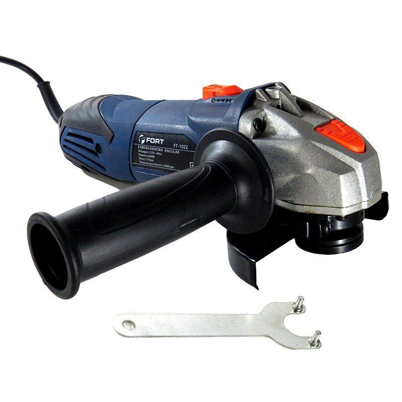 Esmerilhadeira Lixadeira Angular 4.1/2 600W 110V Rolamentada 12000 Rpm 115 mm Fort FT-1022 Azul
