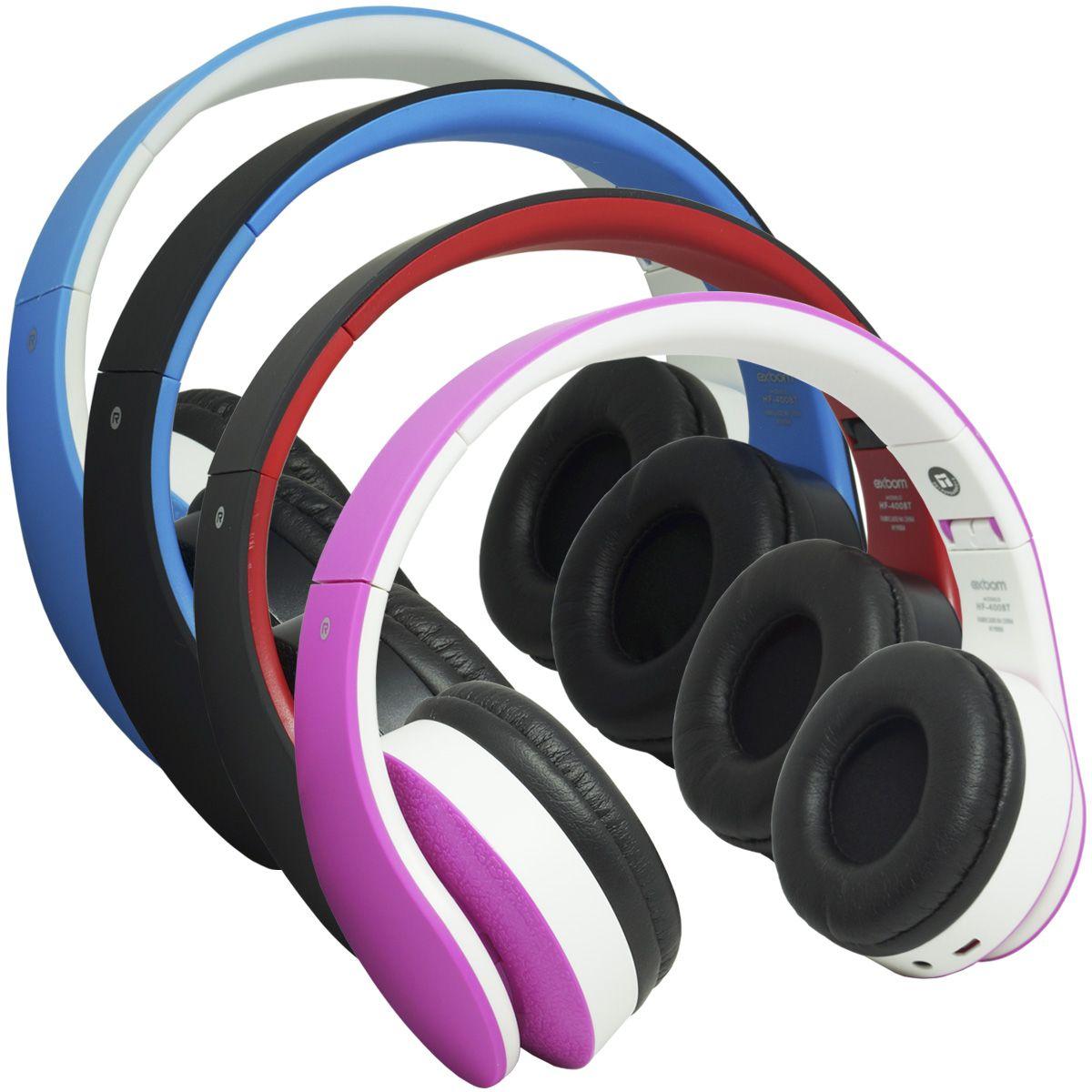 Fone Ouvido Headphone Bluetooth Sem Fio Dobrável Estéreo Fm Micro Sd Mp3 P2 Exbom HF-400BT