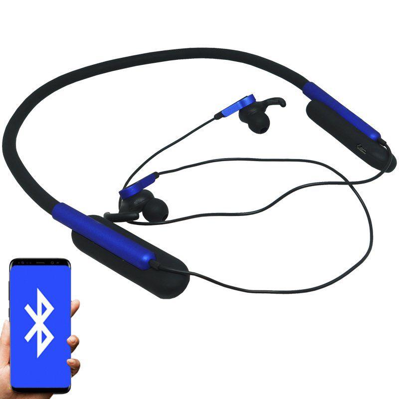 Fone Ouvido Headphone Bluetooth Sem Fio Esporte Flexível Estéreo Vibra Infokit HBT-82 Preto Azul