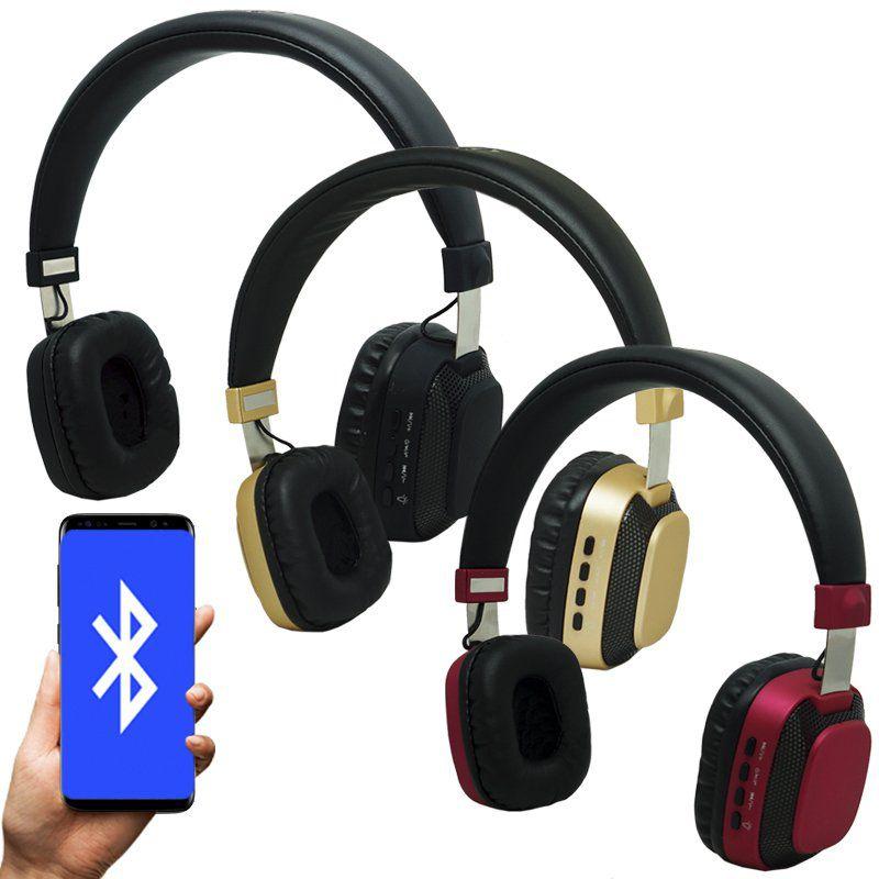Fone Ouvido Headphone Bluetooth Sem Fio Led Moderno Estéreo P2 Infokit HBT-240 Preto