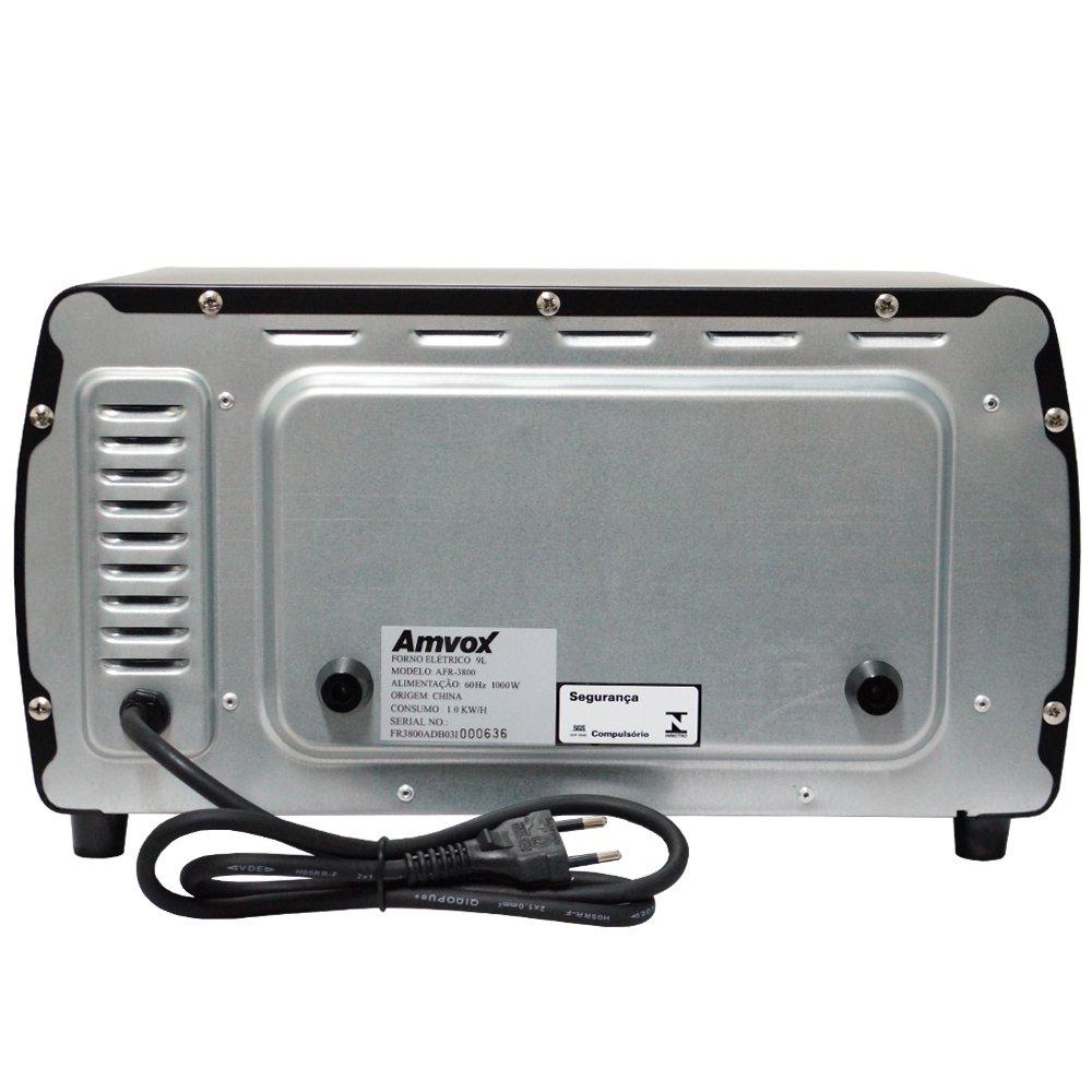 Forno Elétrico de Bancada 9 Litros 220V 1000W Multifunção Timer Alarme Amvox AFR 3800-2 Preto