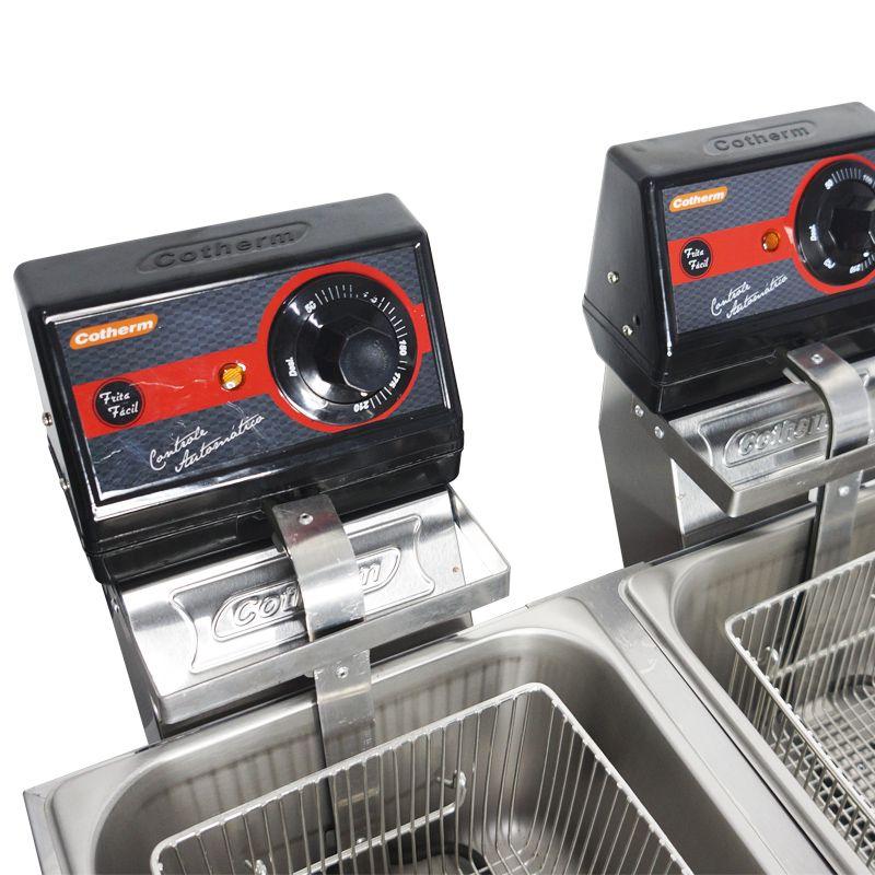 Fritadeira Elétrica com Óleo 10 Litros 2 Cubas Industrial Profissional 110V 127V Cotherm Dupla Inox