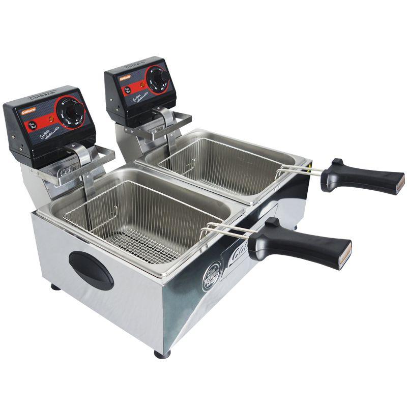 Fritadeira Elétrica com Óleo 10 Litros 2 Cubas Industrial Profissional Frita Fácil Cotherm Inox
