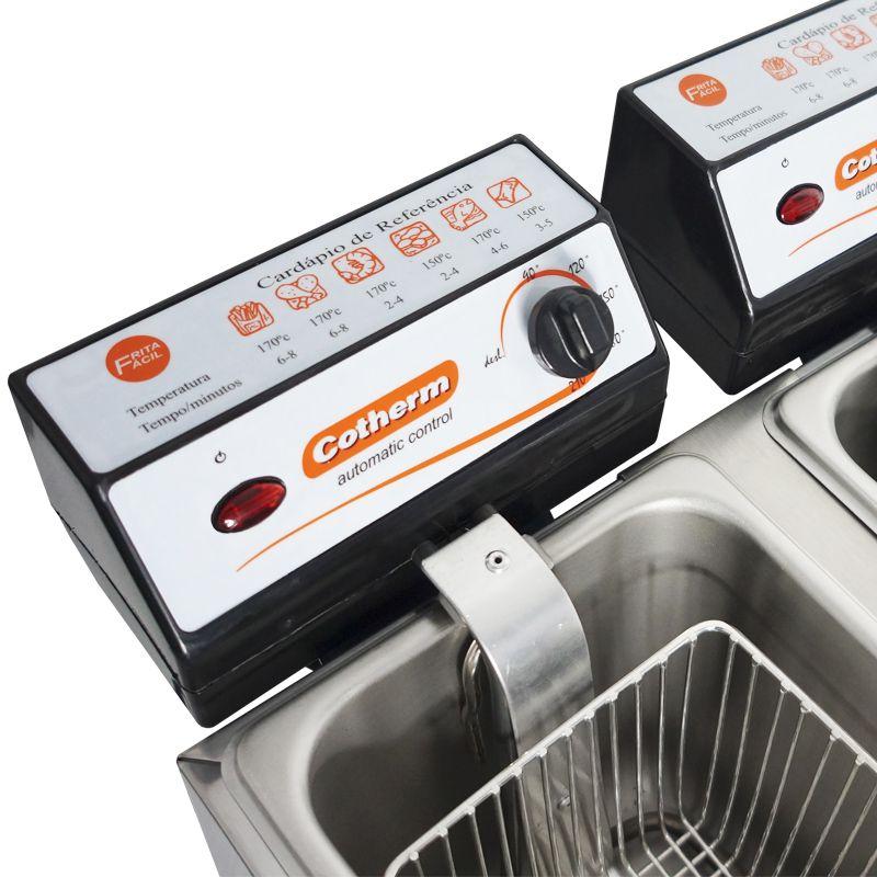Fritadeira Elétrica com Óleo 4 Litros 2 Cubas Industrial Profissional 220V Cotherm 2400W Inox