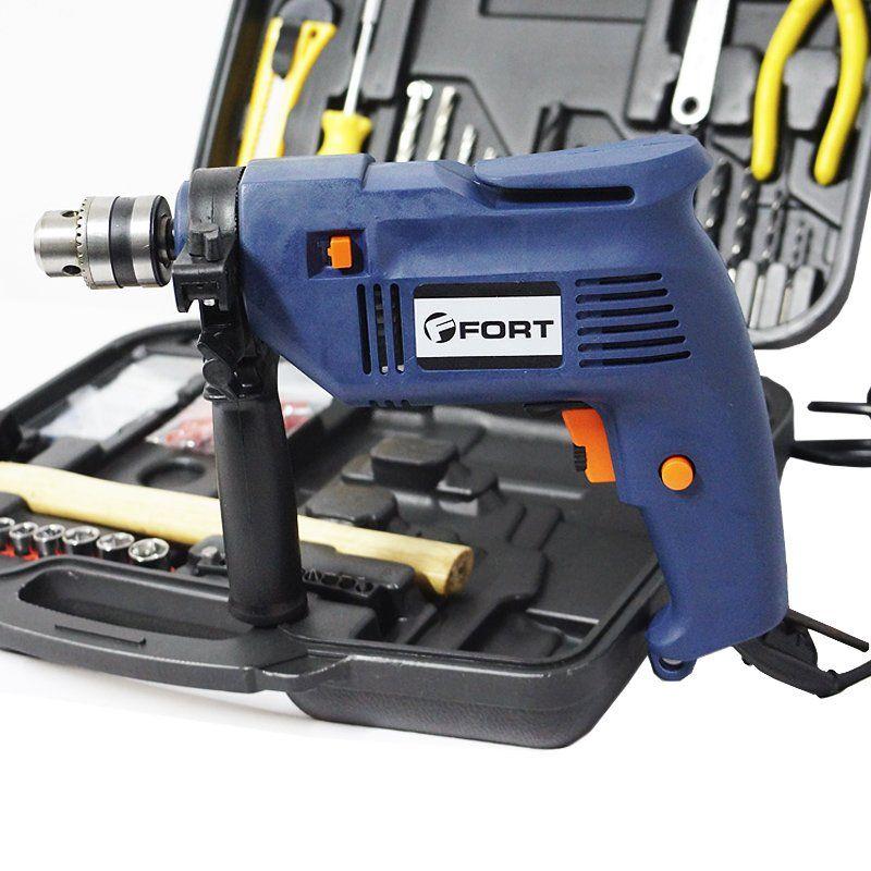 Furadeira Impacto 3/8 420W 110V com Kit de Ferramentas Completo Jogo 110 Peças e Maleta Fort FT-9301