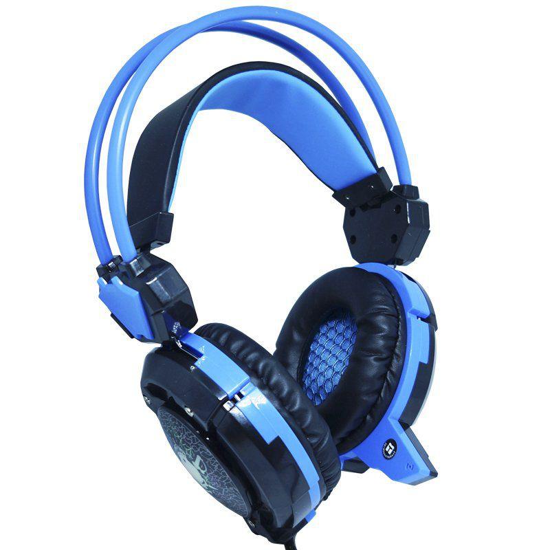 Headset Gamer Fone Ouvido com Microfone Usb P2 Led Pc Jogos Infokit GH-X30 XSoldado Preto Azul