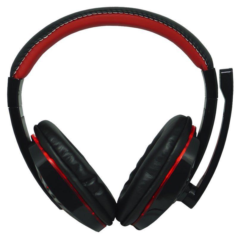 Headset Gamer Ps4 Fone Ouvido com Microfone Usb P2 Led Celular Jogos Exbom HF-G310P4 Preto Vermelho