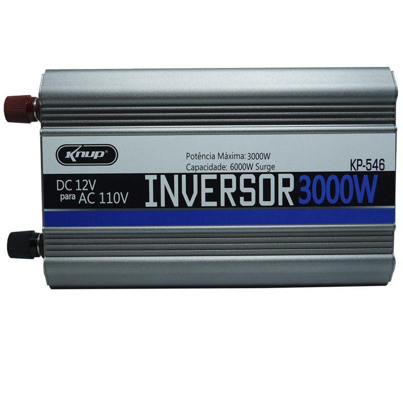 Inversor Conversor 12V para 110V Potência 3000W Veicular Transformador Tensão Knup KP-546 Cinza