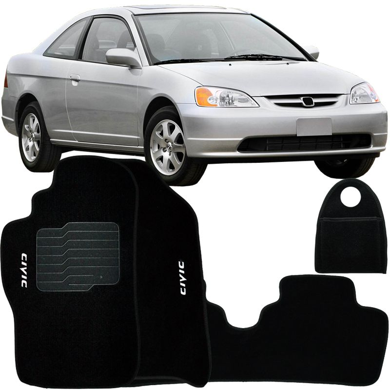 Jogo Tapete Automotivo Carpete + Lixeira Civic 2001 à 2006 Soft Logo Bordado Preto 4 Peças