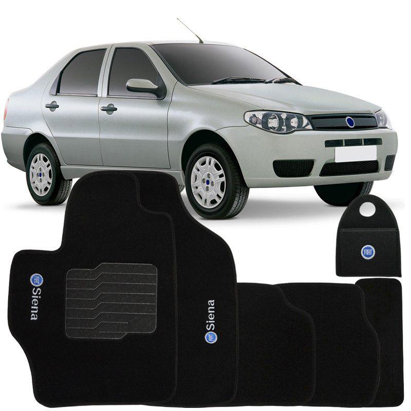 Jogo Tapete Automotivo Carpete + Lixeira Fiat Siena 2001 à 2007 Soft Logo Bordado Preto 6 Peças