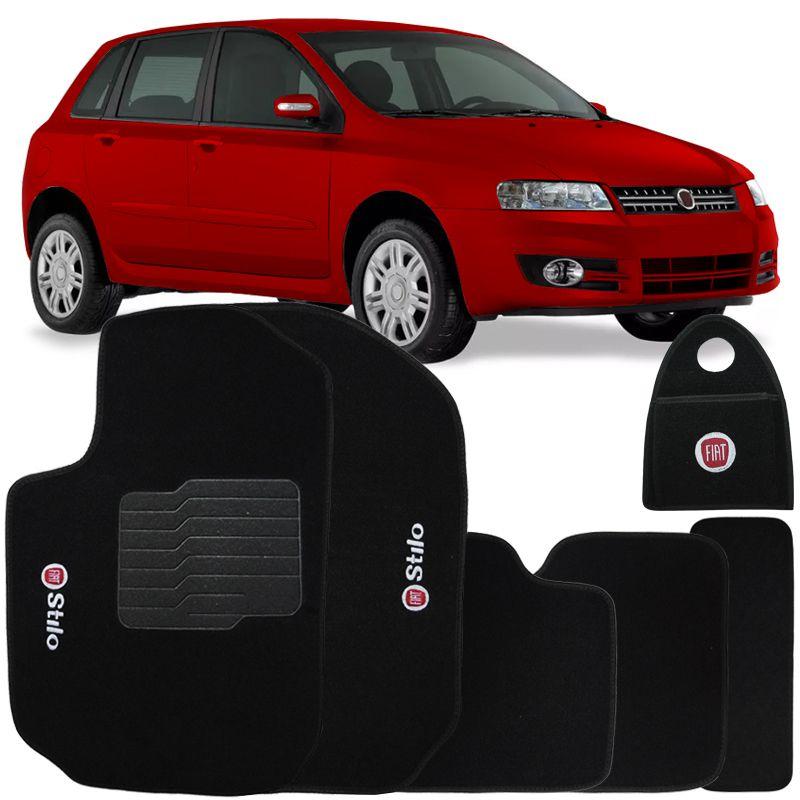 Jogo Tapete Automotivo Carpete + Lixeira Fiat Stilo 2002 à 2011 Soft Logo Bordado Preto 6 Peças