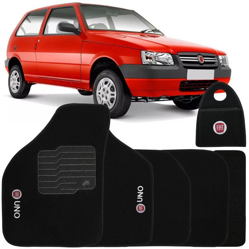 Jogo Tapete Automotivo Carpete + Lixeira Fiat Uno 2008 à 2013 Soft Logo Bordado Preto 6 Peças