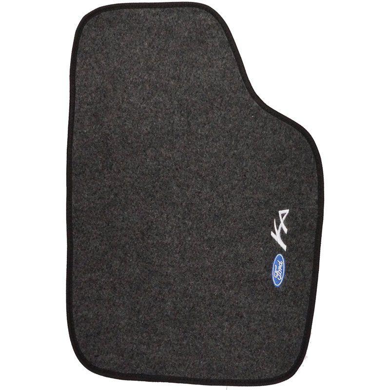 Jogo Tapete Automotivo Carpete + Lixeira Ford Ka 1996 à 2013 Soft Logo Bordado Grafite 6 Peças