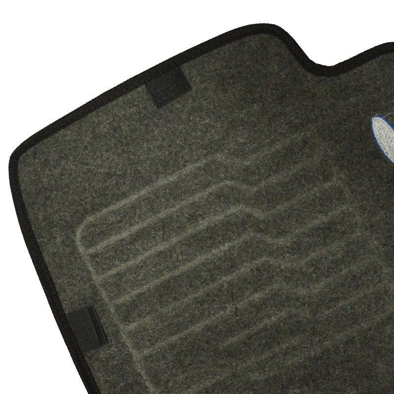 Jogo Tapete Automotivo Carpete + Lixeira Ford Ka 2015 à 2019 Soft Logo Bordado Grafite 6 Peças