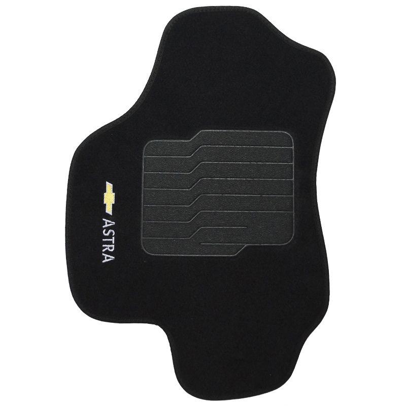 Jogo Tapete Automotivo Carpete + Lixeira Gm Astra 1999 à 2012 Soft Logo Bordado Preto 6 Peças