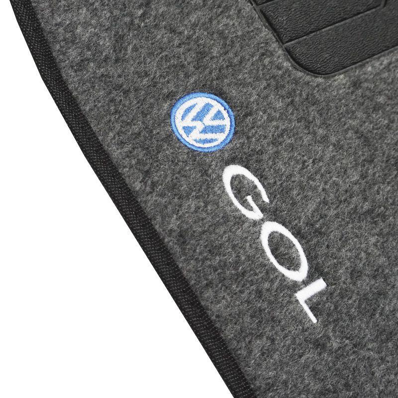 Jogo Tapete Automotivo Carpete + Lixeira Gol G3 2000 à 2005 Soft Logo Bordado Grafite 6 Peças