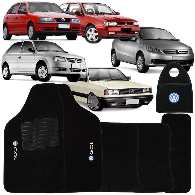 Jogo Tapete Automotivo Carpete + Lixeira Gol Quadrado 1980 à 1994 Soft Logo Bordado Preto 6 Peças