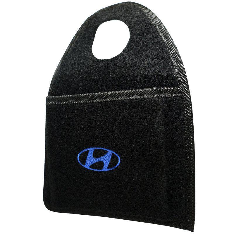 Jogo Tapete Automotivo Carpete + Lixeira Hyundai Hb20X 2013 à 2019 Soft Logo Bordado Preto 6 Peças