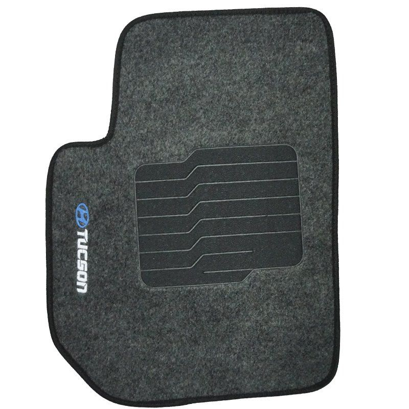Jogo Tapete Automotivo Carpete + Lixeira Hyundai Tucson 2005 à 2016 Soft Logo Bordado Grafite 6 Pçs