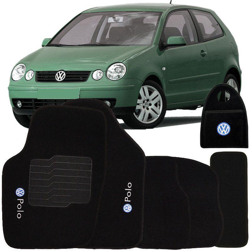 Jogo Tapete Automotivo Carpete + Lixeira Volkswagen Polo 2003 à 2008 Soft Logo Bordado Preto 6 Peças