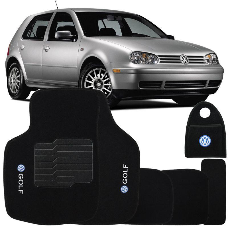 Jogo Tapete Automotivo Carpete + Lixeira Vw Golf 1999 à 2001 Soft Logo Bordado Preto 6 Peças