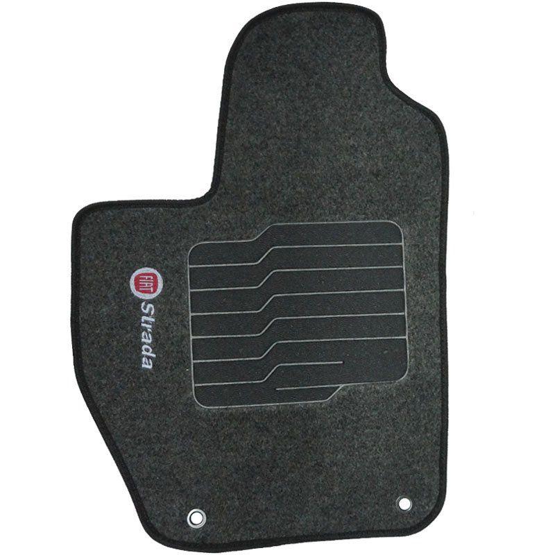 Jogo Tapete Carpete + Lixeira Fiat Strada Cab. Dupla 2007 à 2012 Soft Logo Bordado Grafite 6 Peças