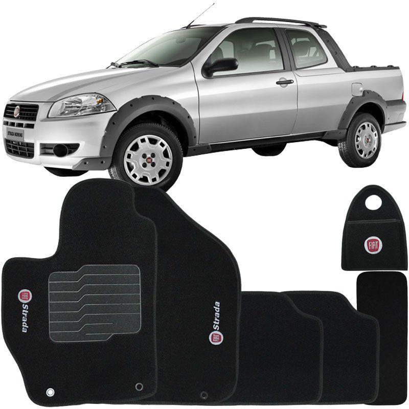 Jogo Tapete Carpete + Lixeira Fiat Strada Cab. Dupla 2007 à 2012 Soft Logo Bordado Preto 6 Peças