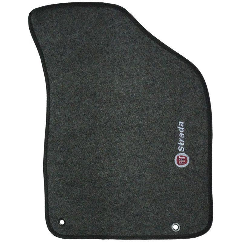 Jogo Tapete Carpete + Lixeira Fiat Strada Cab. Simples 2007 à 2012 Soft Logo Bordado Grafite 3 Peças