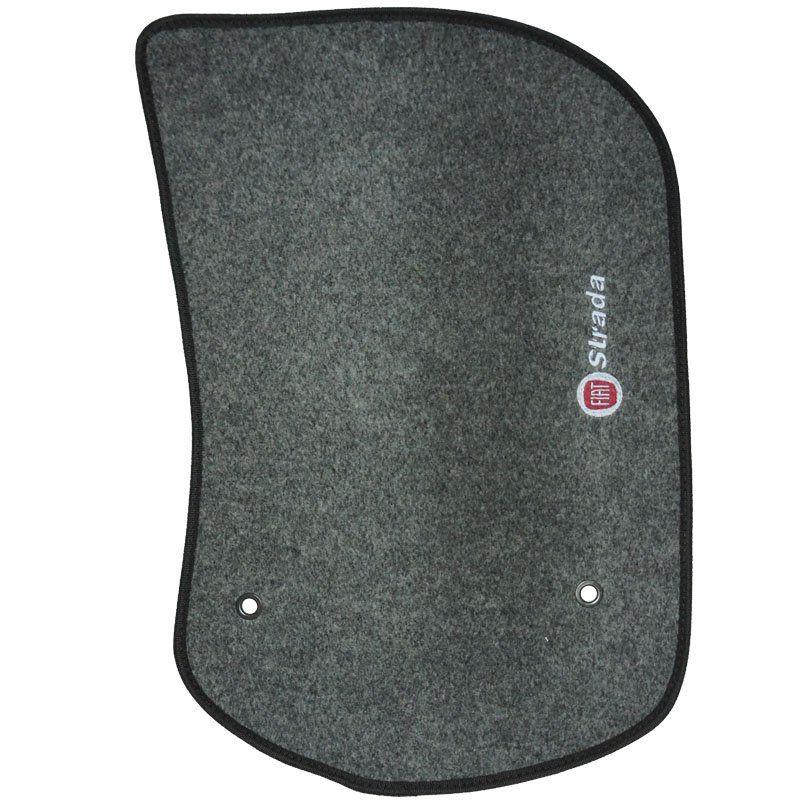 Jogo Tapete Carpete + Lixeira Fiat Strada Cab. Simples 2013 à 2019 Soft Logo Bordado Grafite 3 Peças