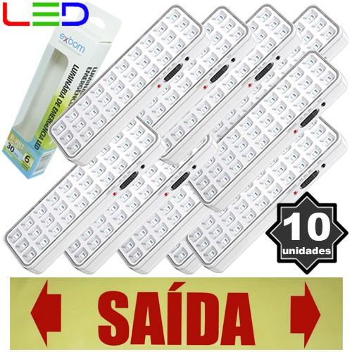 Kit 10 Luminárias de Emergência Bivolt 30 Leds 2W Exbom LE-PR40 Recarregável Lâmpada Luz Branco Frio  - BEST SALE SHOP